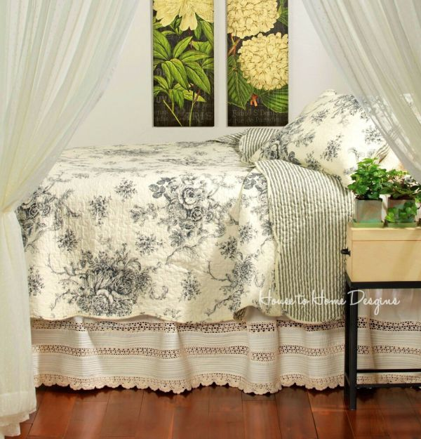 French Country Black Rose Full Queen Quilt Set Cottage