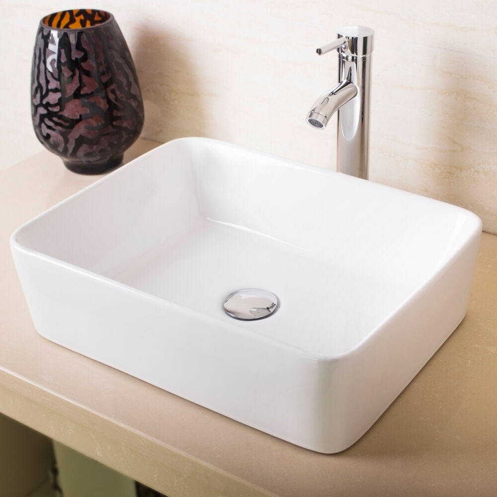 New Bathroom Rectangle White Porcelain Ceramic Vessel Sink  Chrome Faucet Combo  eBay