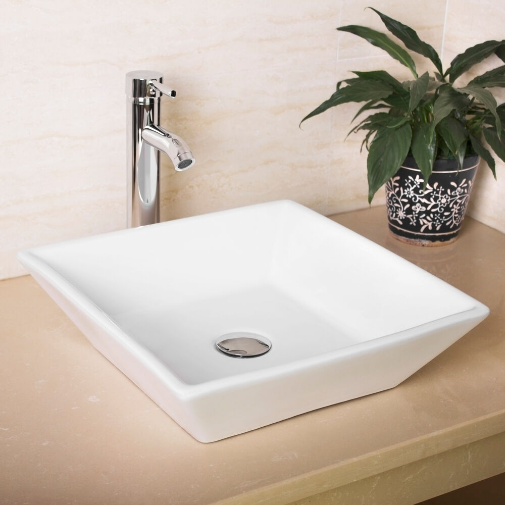 New Bathroom White Square Porcelain Ceramic Vessel Sink BowlChrome Faucet Combo  eBay