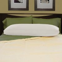 White Brushed Cotton Natural Feather-filled Body Pillow ...