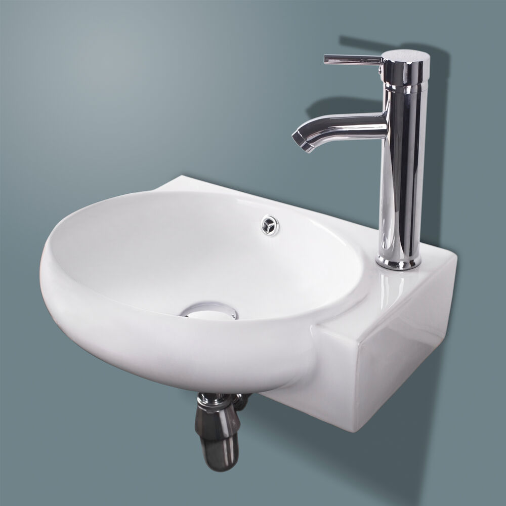 New Bathroom Ceramic Vessel Sink White Porcelain Corner
