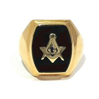 SOLID 14K YELLOW GOLD & BLACK ONYX MASONIC RING ~ SIZE 9 1