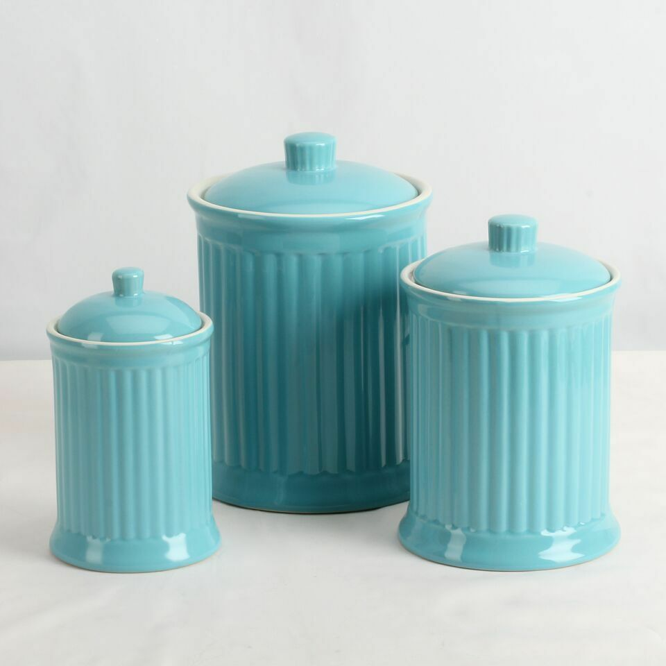 Simsbury Ceramic Canister Set Of 3 In Turquoise By Omni