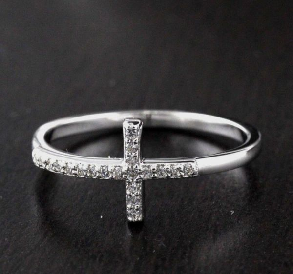 Womens 925 Sterling Silver Cz Micro Pave Cross Ring