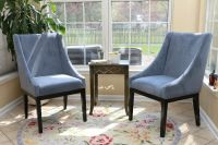 SET OF 2 Modern BLUE Arm Slipper Dining Sofa Chair Accent ...