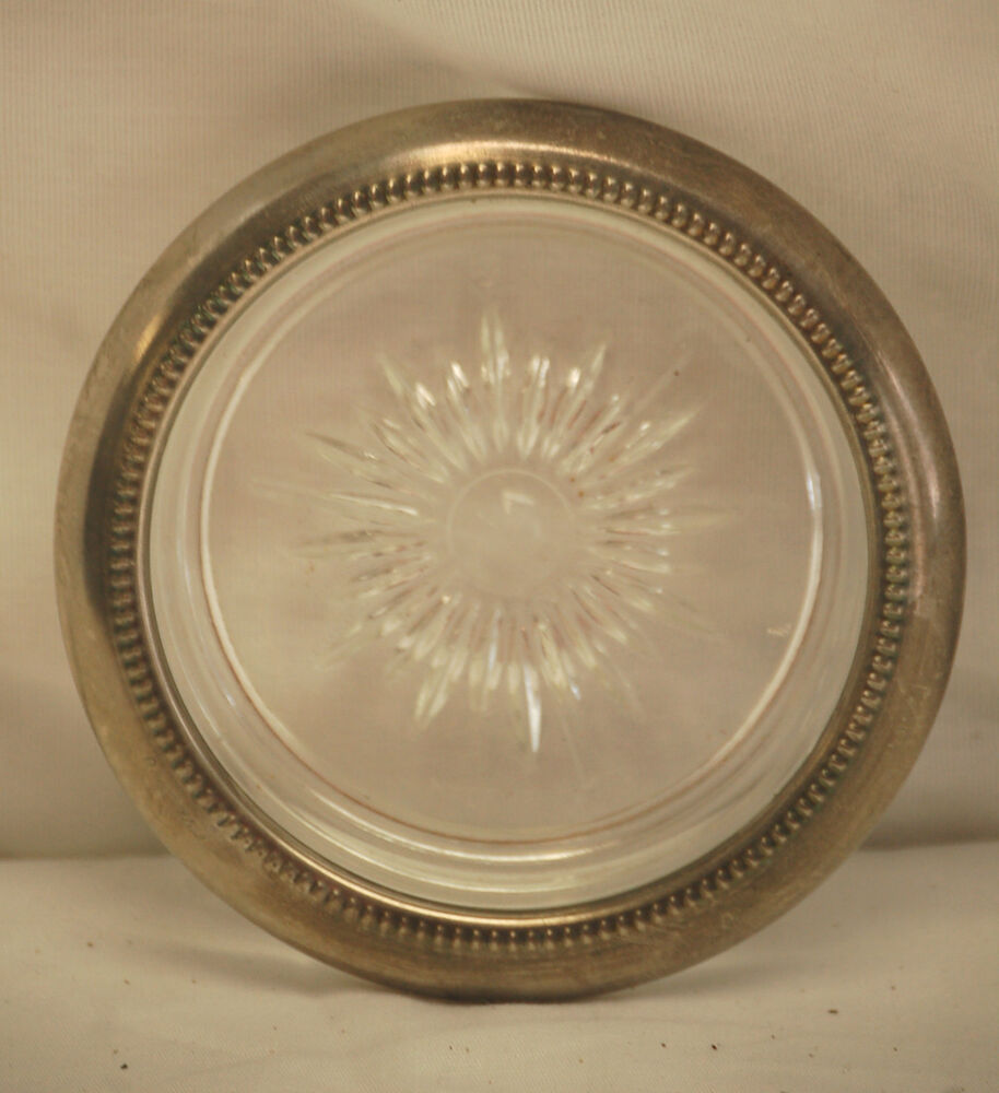 Old Vintage Leonard Silver Plate Crystal Glass Coasters