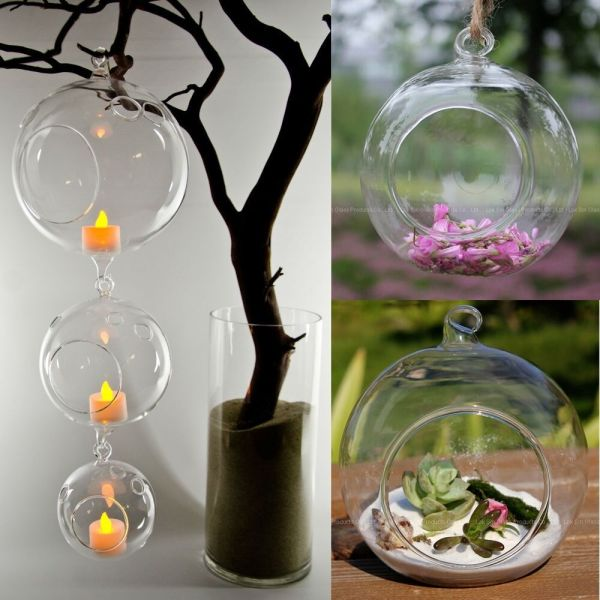 Glass Candle Holders with Flowers