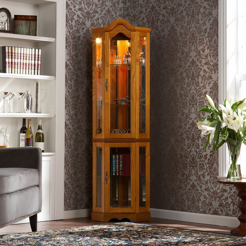 Lighted Corner Curio Cabinet  Oak  eBay