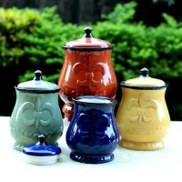 Country Kitchen Canister Set Tuscan Decorative Red Green ...
