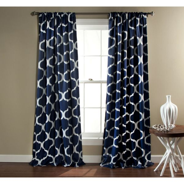 Navy Blue and White Geometric Curtains