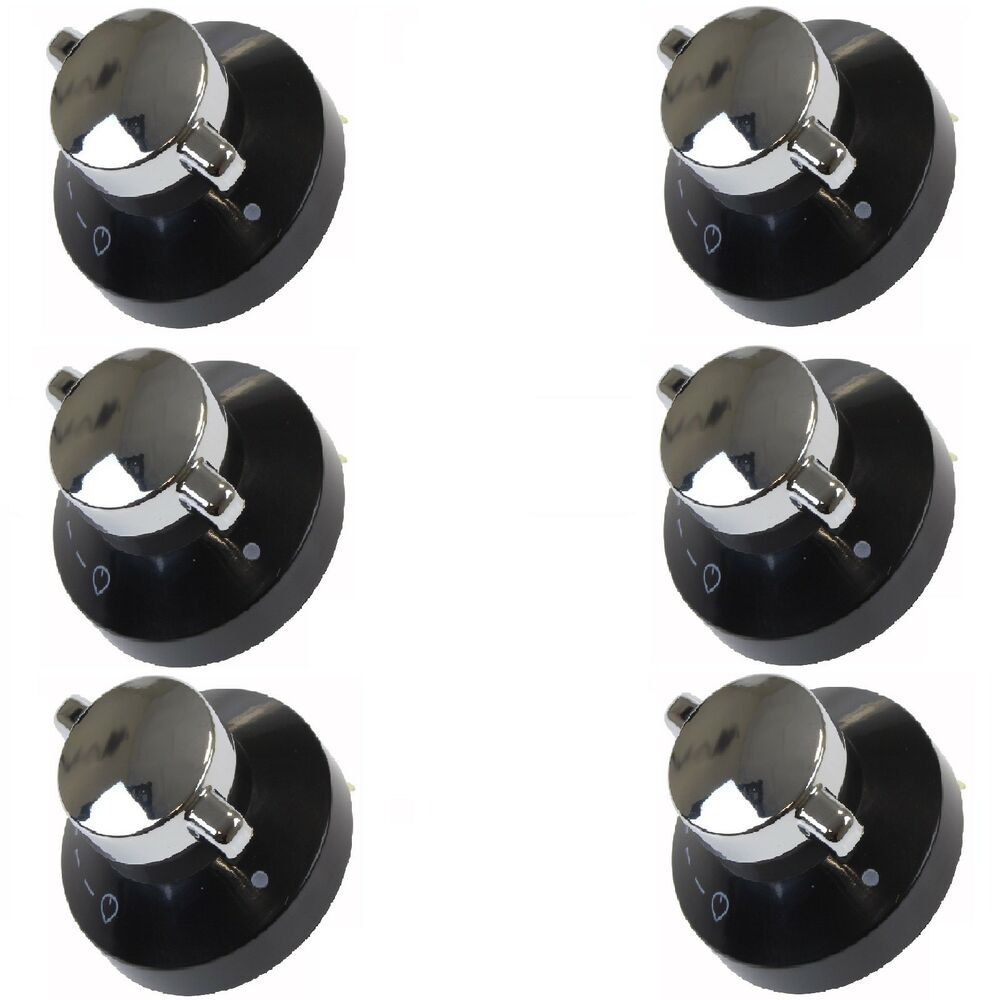 kitchen stove parts light bulbs 6 x oven gas control knobs hob cooker switch chrome black ...