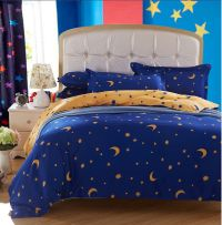 Blue And Yellow Moon Star Duvet Quilt Cover With Pillow
