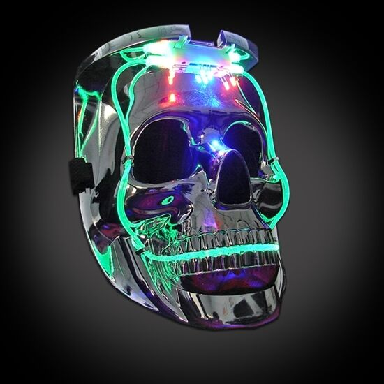 LED LIGHT UP FLASHING SKULL MASK SKELETON HALLOWEEN RAVE