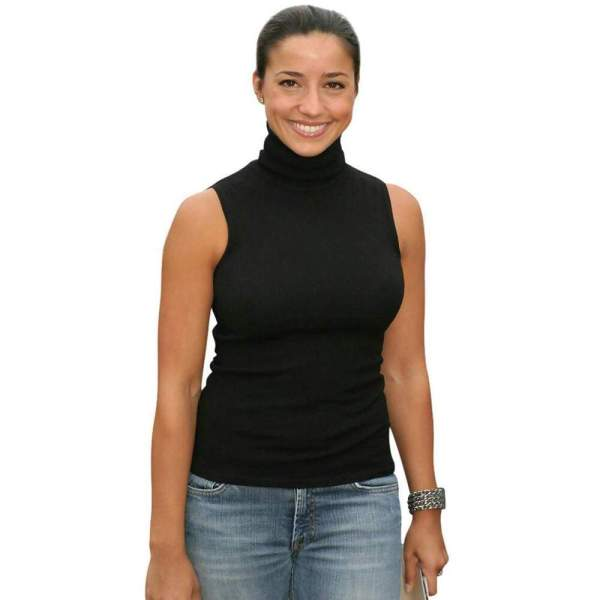 Women Sleeveless Turtleneck Slim Tank Tops Celeb Stretch