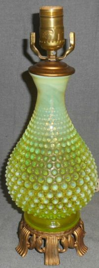 Fenton OPALESCENT VASELINE Hobnail TOPAZ YELLOW Table Lamp