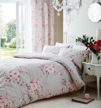 Catherine Lansfield Canterbury Grey / Pink Duvet Quilt ...