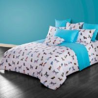 Twin Queen Size Dog Puppy Theme Duvet Cover Bedding Set