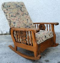 Antique American Tiger Oak MORRIS ARM CHAIR Recliner ...