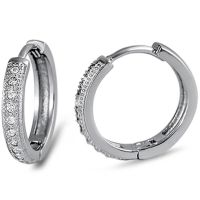 Pave Cz Huggie Hoop .925 Sterling Silver Earrings