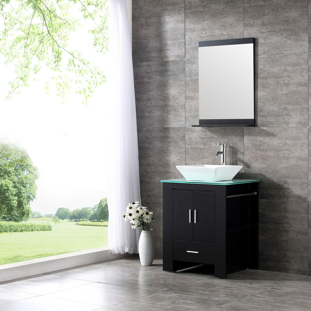 24 Wood Bathroom Sink Vanity Cabinet Ceramic Bowl Modern