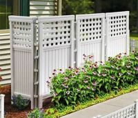 White 4 Panels Outdoor Privacy Screen Fence Steel ...