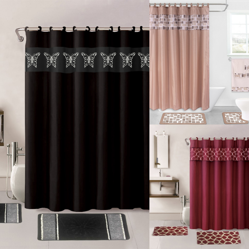 15PC PRINTED BANDED BATHROOM SHOWER CURTAIN SET BATH MAT FABRIC COVERED RINGS EBay