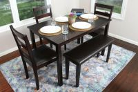 5pc ESPRESSO Dining Table Set Dinette Chairs Bench kitchen ...