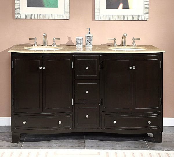 60- Travertine Stone Top Bathroom Vanity Dual Lavatory Sink Cabinet 0703tr