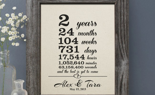 2 Years Together Gift Cotton Print 2nd Wedding