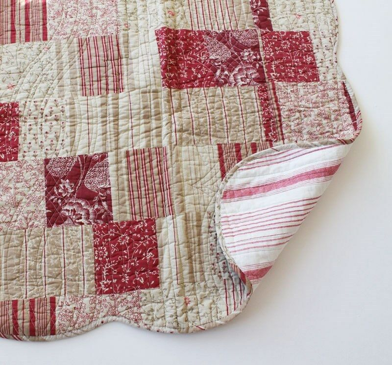French Country Toile Throw Quilt Rug Blanket Red Ecru