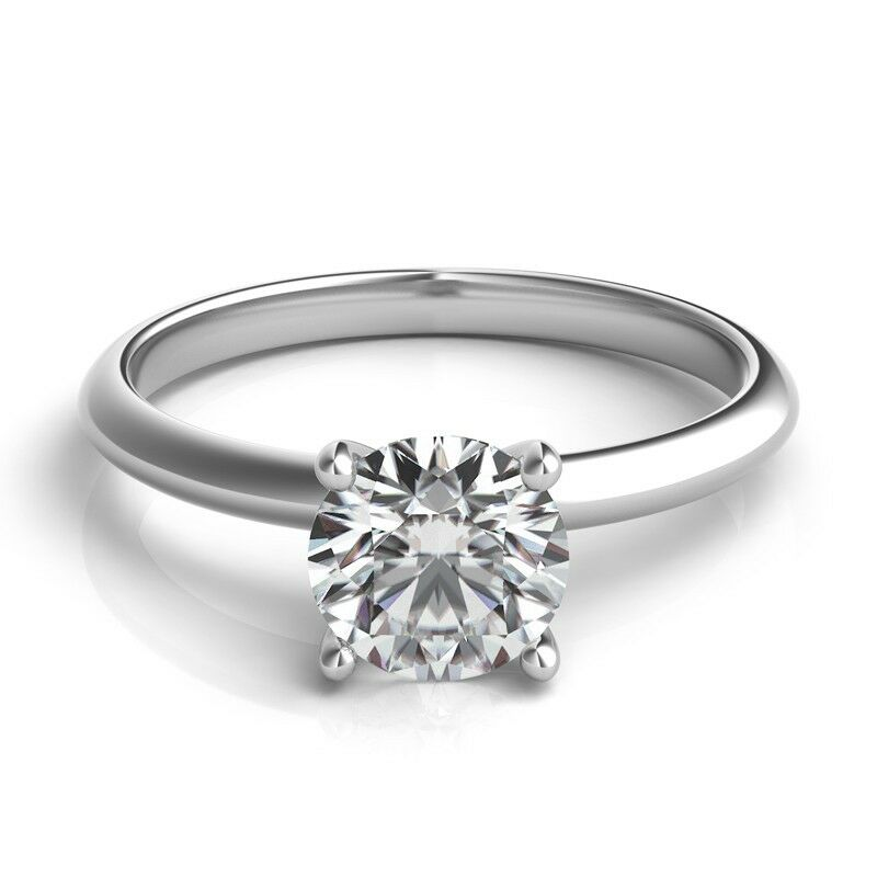 100 Carat TW14K White Gold Round Diamond Engagement Solitaire Ring  eBay