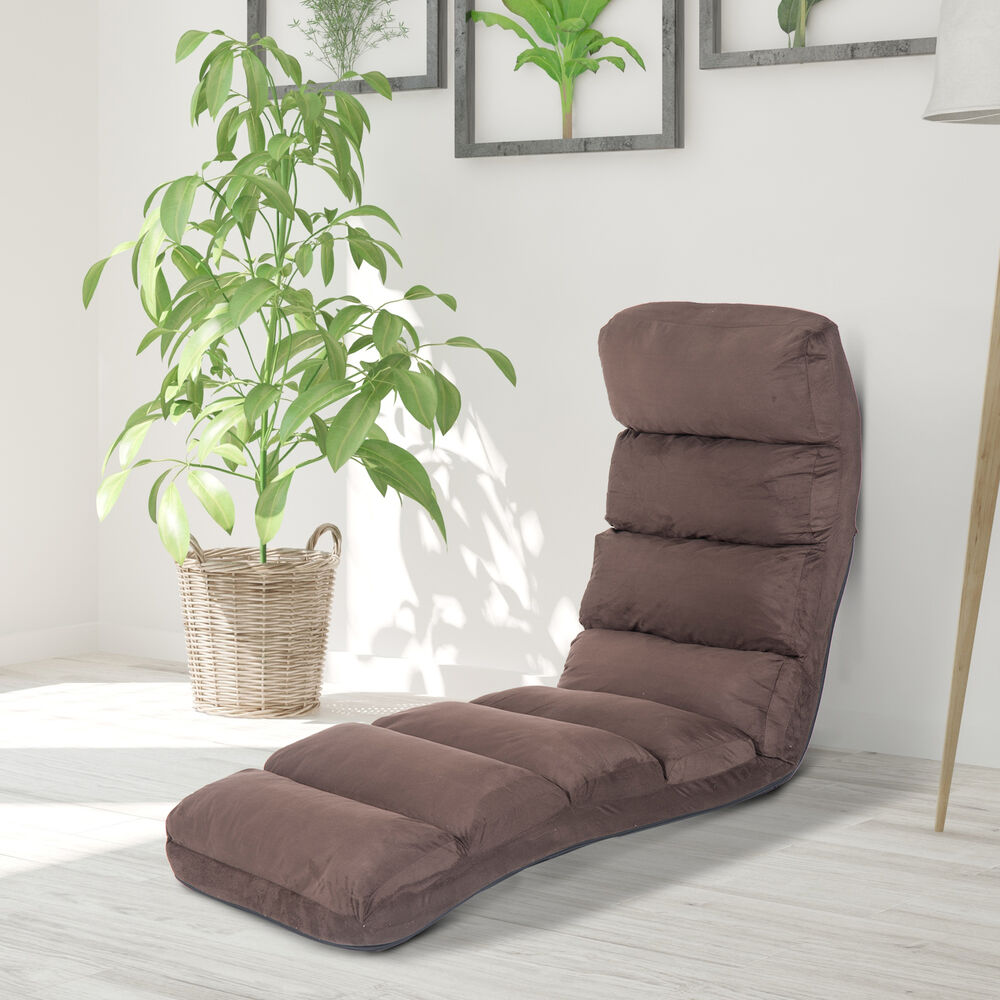 sleeper lounge chair babies r us high cover homcom sofa bed adjustable floor seat chaises longues brown | ebay