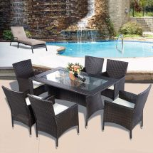 Rattan Furniture Dining Tabl Chairs Set Outdoor
