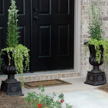 2 Pack Outdoor Planter Pots Large Tall Urn Flower Black