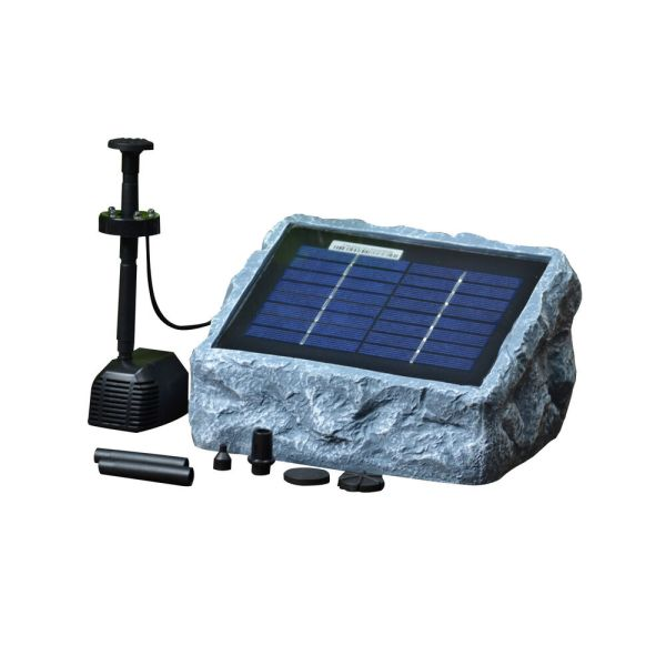 Solar Stone Water Pump Two 2 Watt With Led Light Fountain Kit