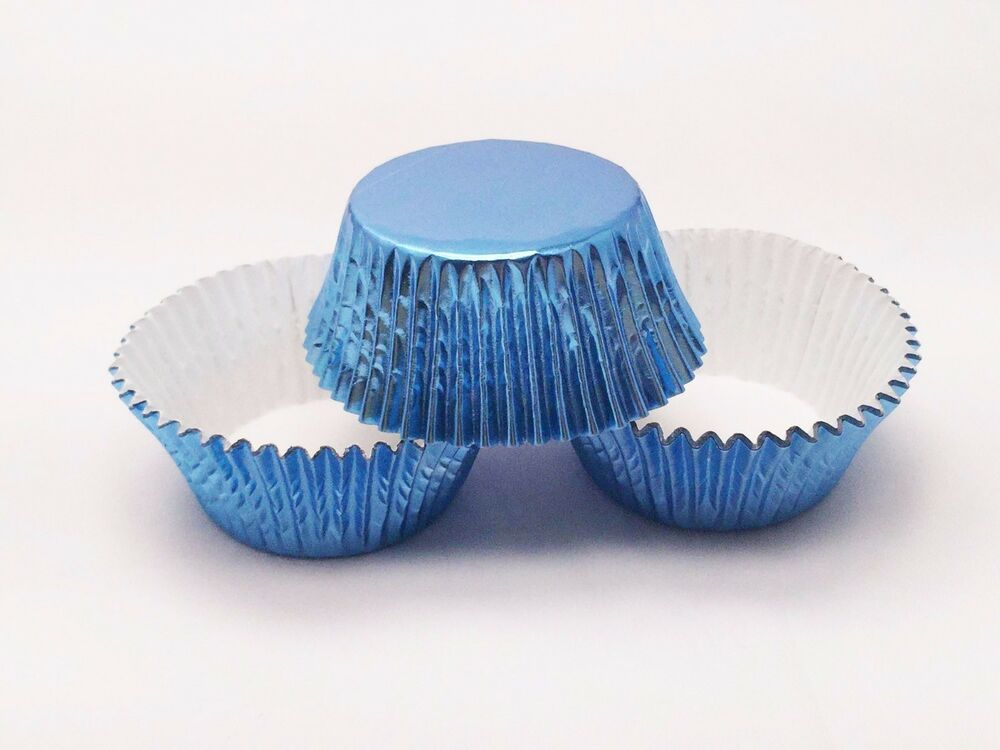 48 Sky Blue Foil Cupcake Liners Standard Size Baking Cups