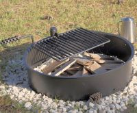 "32"" Steel Fire Ring with Cooking Grate Campfire Pit Park ..."