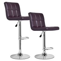 Set of 2 Modern Leather Bar Stools Adjustable Hydraulic ...