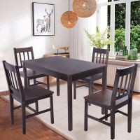 Solid Wooden Pine Dining Table And 4 Chairs Set Kitchen ...