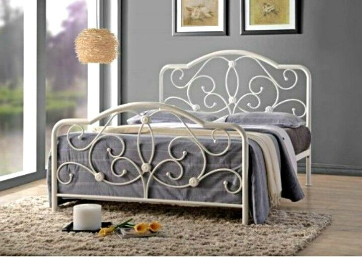 Victorian Style Metal Bed Frame White Double Size French