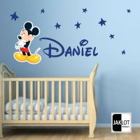 MICKEY MOUSE & PERSONALISED NAME Vinyl Wall Decal FREE ...