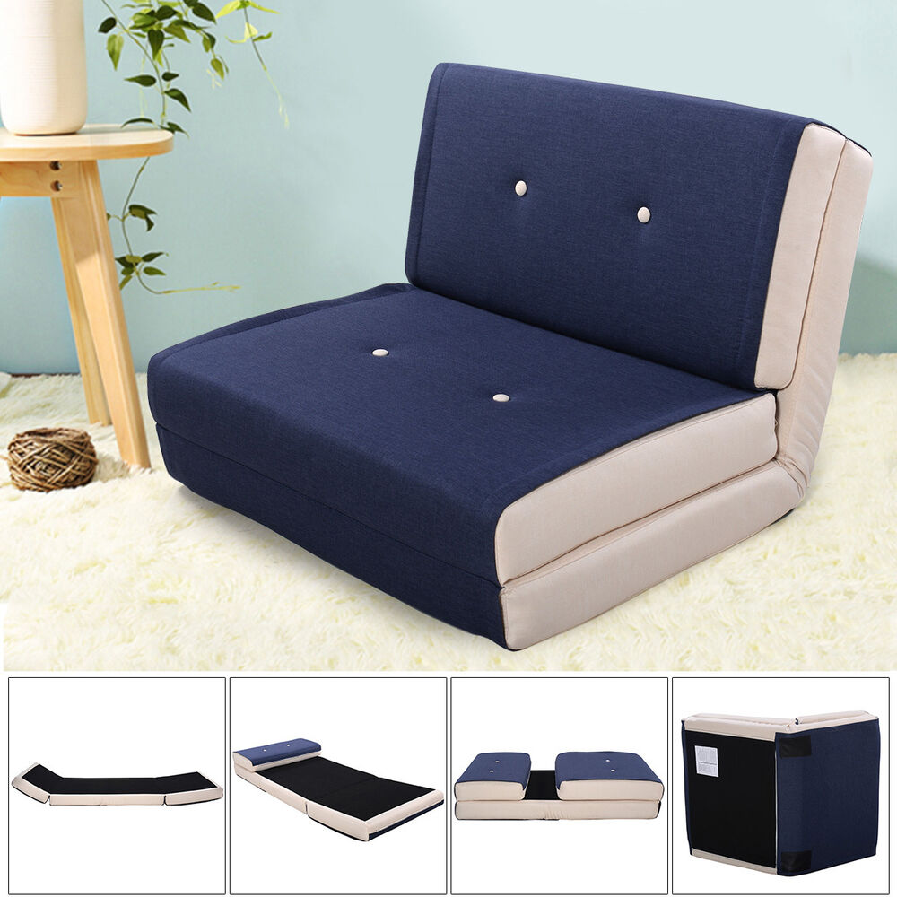 fold out chair beds unfinished wooden chairs canada down flip lounger convertible sleeper bed couch game dorm navy | ebay