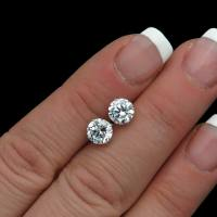 2ct Created Diamond Earrings Solitaire Studs 14k White ...