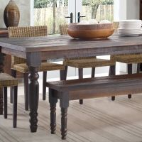 Rustic Wood Dining Table Bench Solid Distressed Look ...