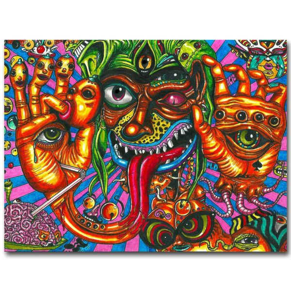 Psychedelic Trippy Monster Abstract Art Silk Poster 13x20