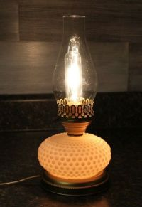 Hobnail milk glass Hurricane Style Electric table lamp oil ...