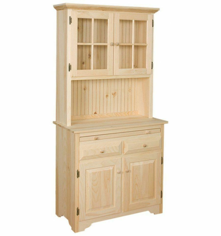 AMISH Unfinished Solid Pine  HUTCH China Cabinet with