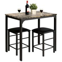 3 PCS Counter Height Dining Set Faux Marble Table 2 Chairs ...