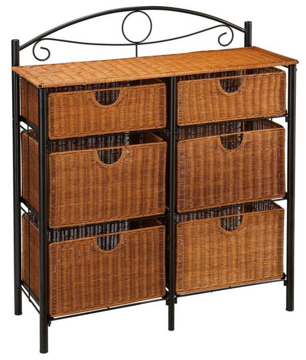 Wicker Storage Chest with Drawers