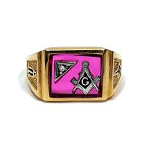 Gold Ruby Masonic Ring - Year of Clean Water